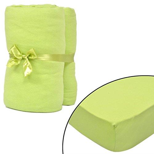 Geniet van winkelen met Hoeslaken voor matras 180x200-200x220 cm katoenjersey (groen) 2 stuks