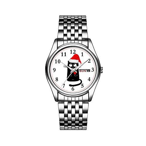 Reloj de pulsera para hombre de lujo, resistente al agua, 30 m, fecha, reloj de pulsera deportivo, de cuarzo, informal, regalo de gato, gorro de Navidad, vacaciones, divertido, reloj de pulsera