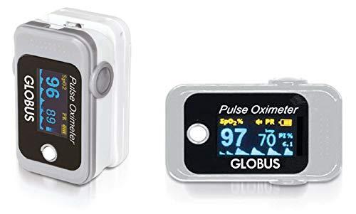Globus BM1000D, Pulsossimetro saturimetro da Dito misuratore di Ossigeno Unisex Adulto, Grigio,...