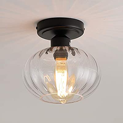 Industrial Glass Flush Mount Light Fixture Clear Glass Shade Rustic Semi Flush Mount Ceiling Light for Hallway Entryway Kitchen Farmhouse, Black