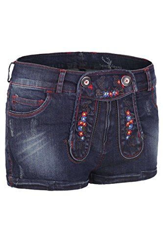 Spieth & Wensky Damen Damen Jeansshorts in Lederhosenoptik, blau, 40