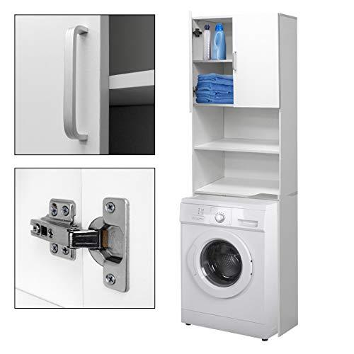 ECD Germany Waschmaschinenschrank - 190 x 62,5 cm - Weiß - 2 Türen - Badezimmerschrank für Waschmaschine Trockner - Hochschrank Badmöbel Badregal Bad Schrank Umbauschrank Überbau Waschmaschinenüberbau 4