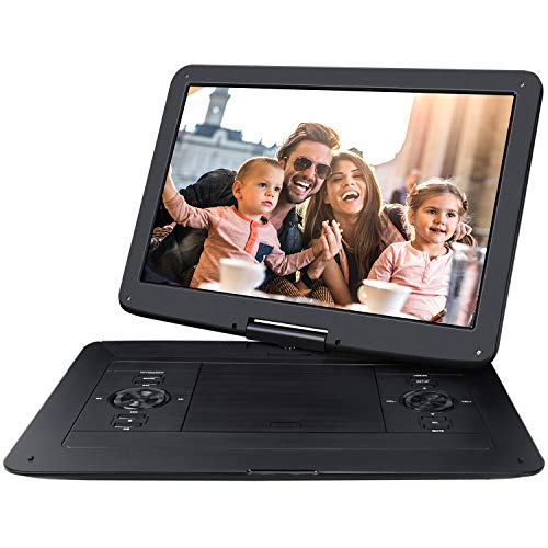 NAVISKAUTO 17.9' Portable DVD Player HD DVD Player Large Swivel 15.6' Screen Support 7 Hours 128GB USB SD Sync Screen AV Out & in Stereo Sound Region Free