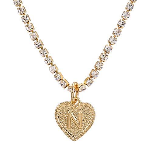 Your New Look Mode 26 Alphabet Anglais Peach Coeur Collier Femmes Aiment Pendentif ChaîNe Forme Diamant Lettrage DéCembre Pierre De Naissance
