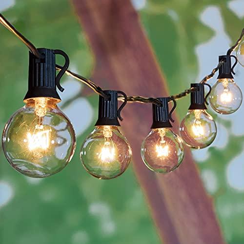 Guirlande lumineuse d'extérieur pour patio - 30,5 m - G40 - Avec 104 ampoules transparentes Edison de 5 W - 4 ampoules de rechange - Imperméable - Pour balcon, porche, bistro, décoration de fête, douille C7/E12 - Noir
