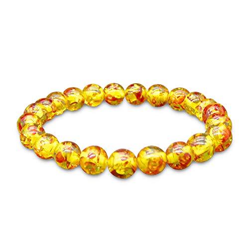 WikiMiu Armband Damen, Bernsteinkristall Buddha-Perlen Armband Armreif für Frauen