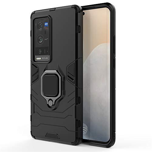 JIAFEI Funda para Vivo X60 Pro +, Grado Militar Anti-Caída Carcasa Resistente con 360° Anillo Rotacion, Negro