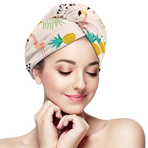 Toalla de pelo de microfibra abrigo flamenco piña en verano pelo turbante toalla súper absorbente rápido secado gorras sombrero