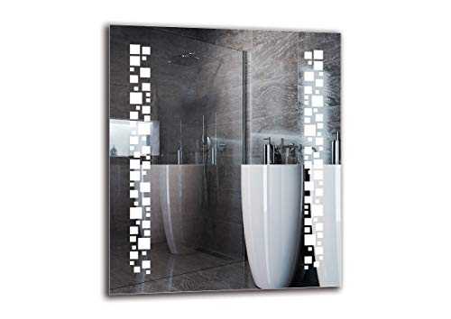 LED Spiegel Premium - Spiegelmaßen 60x70 cm - Badspiegel mit LED Beleuchtung - Wandspiegel - Lichtspiegel - Fertig zum Aufhängen - ARTTOR M1ZP-46-60x70 - Lichtfarbe Weiß kalt 6500K - ARTTOR