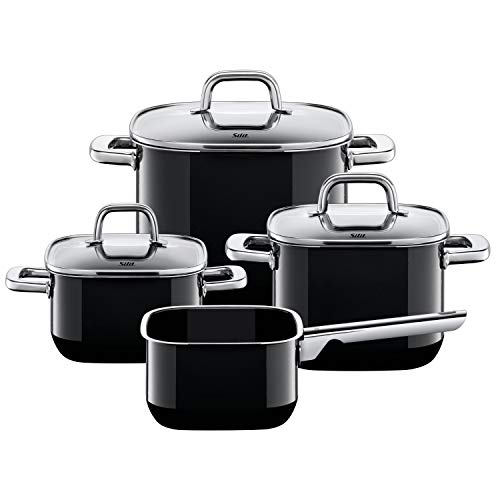 Silit Quadro Black Topfset Induktion 4-teilig, Kochtopf Set mit Glasdeckel, Silargan Funktionskeramik, Induktions Töpfe Set nickelfrei, schwarz