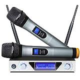 LTJX Micrófonos Inalámbricos, UHF Dual Canal Sistema de Micrófono Profesional,Receptor de Micrófono Karaoke con Pantalla LCD para Karaoke,Bar,Lugares de Entretenimiento,Boda y Reunión