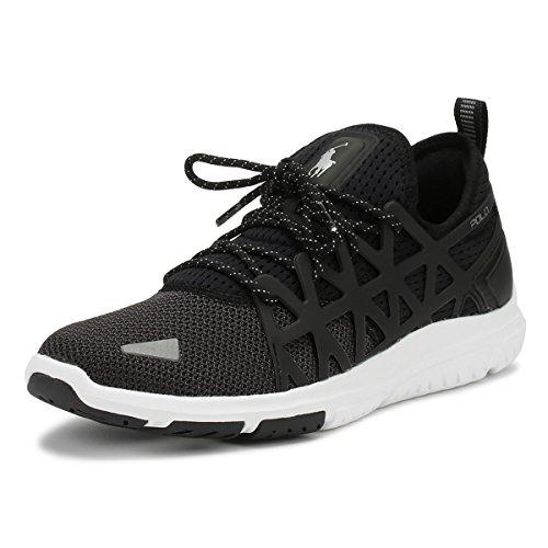 Ralph Lauren Uomo Nero/Charcoal Train 200 Sneaker-UK 7