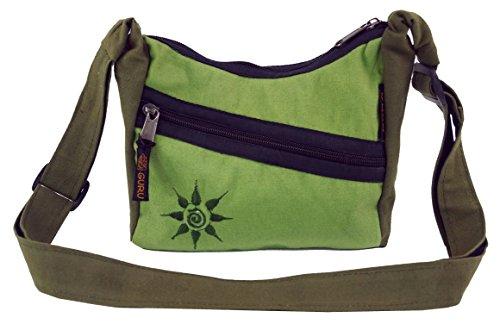 GURU SHOP Kleine Schultertasche, Hippie Tasche, Goa Tasche - Olive, Herren/Damen, Grün, Baumwolle, Size:One Size, 15x20x6 cm, Alternative Umhängetasche, Handtasche aus Stoff