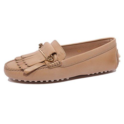 Tod's B1599 Mocassino Donna Scarpa frangia spilla beige Loafer Shoe Woman [35]
