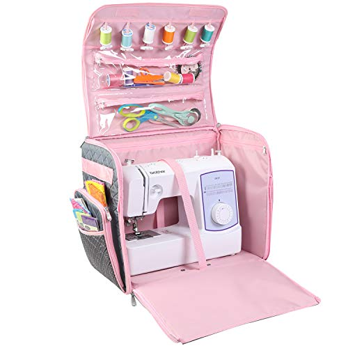 Everything Mary Collapsible Deluxe Sewing Machine Storage Case, Pink & Grey- Rolling Trolley Carrying Bag with Wheels for Brother, Singer, Bernina & Most Machines - Tote Organizer for Accessories