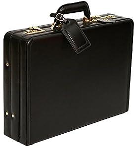 Tassia - Luxuriöser Aktenkoffer mit Dehnfalte - aus Leder - Schwarz