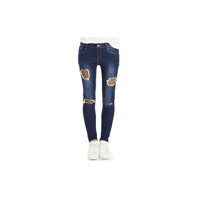 bestyledberlin Damen SkinnyJeans Aufgerissene Netz Jeans