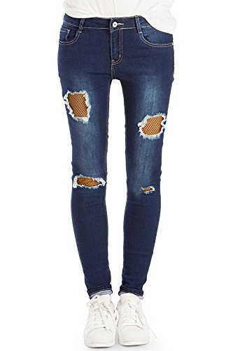 bestyledberlin Damen SkinnyJeans, Aufgerissene Netz Jeans, Röhrenjeans j38g 36/S