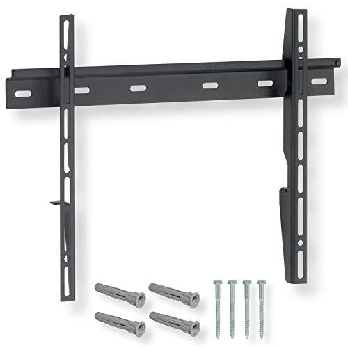 NANOOK Flache TV Wandhalterung für 32-55 Zoll (81-140 cm) fernseher | Flache Aufhängung | Halterung auch für, LED, QLED und OLED fernseher | Universal Halter | VESA 100 x 100 bis 600 x 400 | Schwarz