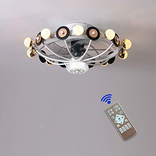 MYJHUIY- Ventilador de techo con mando a distancia y luz de techo LED, regulable, ventilador interior, lámpara ultrasilenciosa para salón