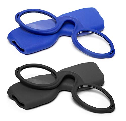 Success Eyewear Armless Reading Glasses Round Nose Resting Small Portable Readers for Men and Women with Case +2.25, 50mm