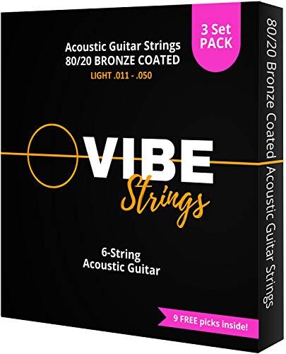 Vibe Strings Corde Chitarra Acustica 011-050 Light, Bronzo 80/20 con rivestimento, Confezione da 3