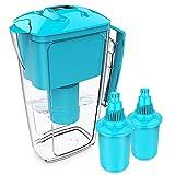 OXA Smart, brocca per l'acqua con filtro alcalino, purificatore per acqua con 2 cartucce sostitutive a lunga durata, capienza 2,5 litri, senza BPA, colore blu