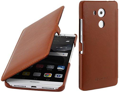 StilGut Leder-Hülle kompatibel mit Huawei Mate 8 Book Type, Cognac mit Clip