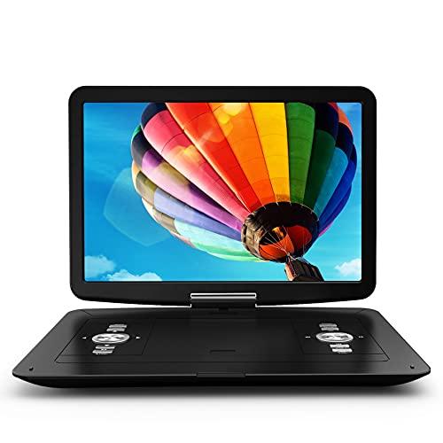 """WONNIE 17"""" Tragbarer DVD-Player mit 15,4"""" Drehbildschirm, Eingebautem Wiederaufladbar Akku,Stereoklang, Fernreisen, Regionen frei, Unterstützung für USB/SD/AV-Ausgang und -Eingang (Schwarz)"""