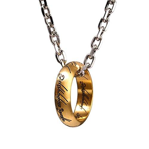 Herr der Ringe Señor de los Anillos un Anillo de Collar Colgante, inscripción, Acero Inoxidable, Chapado en Oro, con Licencia