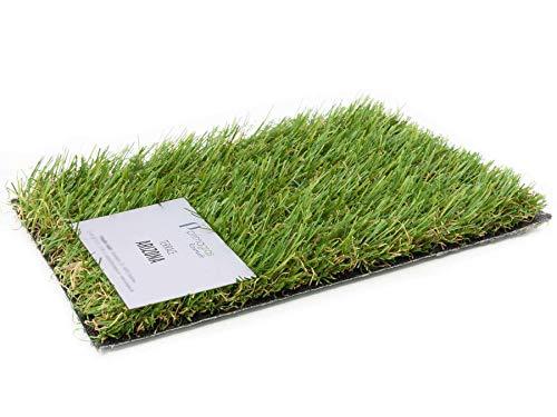 Kunstrasen Rasen-Teppich Meterware - ARIZONA, MUSTER MIT ETIKETT, Hochwertiger, UV-Beständiger, Wasserdurchlässiger Outdoor Bodenbelag für Balkon, Terrasse und Garten