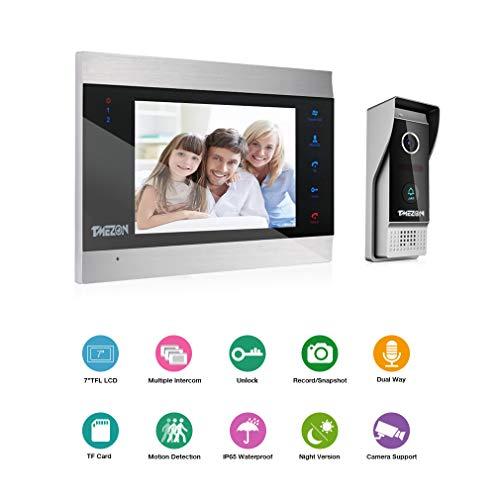 TMEZON Video Doorbell Intercom System, Sistema de Entrada de la Puerta con 7 Pulgadas 1-Monitor 1-Camera para la casa de 1 Familia,Botón táctil, visión Nocturna, instantánea/grabación