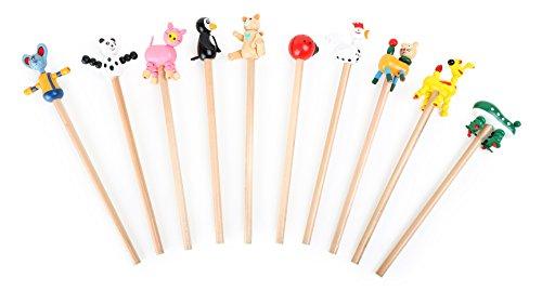 Small Foot 7227 Crayons à Papier «Animaux» en Bois, Lot de 10 Crayons avec Embouts animaliers Amusants, Superbe Cadeau pour Enfants