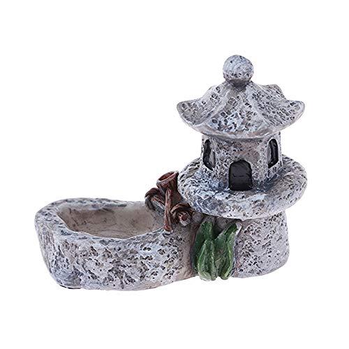 YUYDYU Figuren Garten Miniatur lebensechten Teich Turm, Miniatur Pflanzentöpfe, Bonsai Handwerk, Mikrolandschaft, DIY Dekor