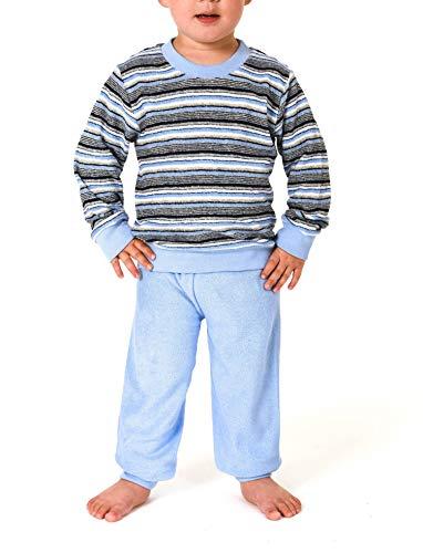 Mädchen Frottee Pyjama lang mit Bündchen Kinder Schlafanzug - Grössen 86-110, Farbe:blau, Größe:86