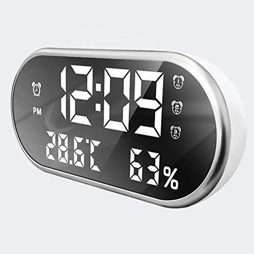 NXSP Digitale led-display temperatuur luchtvochtigheid wekker, 24/12 uur powerbank draagbare mobiele telefoon oplader USB draagbare horloges