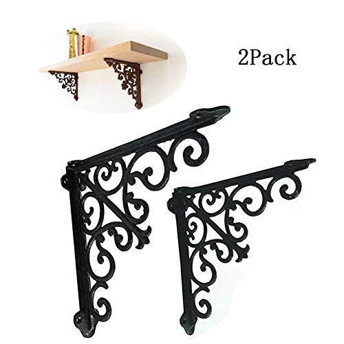 2 piezas soportes estante metal negro decorativo hierro