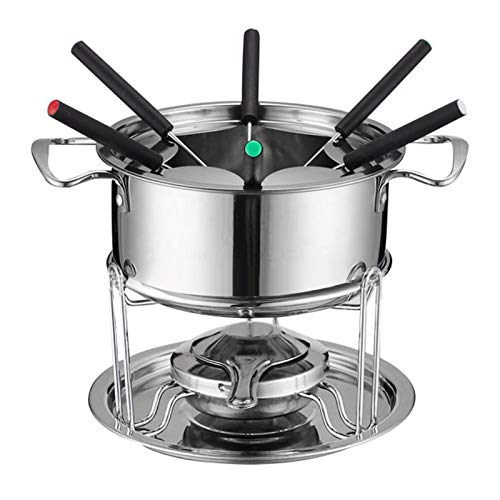 GJCrafts Juego de fondue de acero inoxidable, apto para queso, chocolate y carne, con 6 tenedores codificados por colores, accesorios de cocina para el hogar