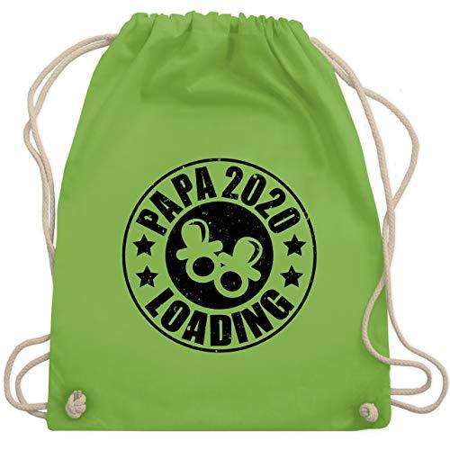 Shirtracer Vatertagsgeschenk - Papa 2020 loading mit Schnullern - schwarz - Unisize - Hellgrün WM110 - Turnbeutel und Stoffbeutel aus Baumwolle
