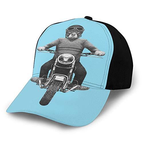 Fuliya Printed Baseball Cap,Dog Breed Riding Motorcycle Adventurous Scooter Hard Hat,Hat for Men Women Teens