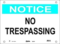 """Master Lock S22552 20"""" Width x 14"""" Height Polypropylene, Blue and Black on White Safety Sign, Header """"Notice"""", Legend """"No Trespassing"""""""