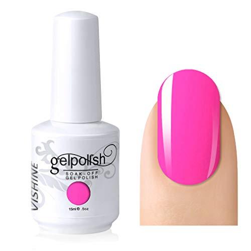 Vishine Gelpolish Soak-off Nail Art UV LED Nail Polish Salon Manicure Hot Pink(496)