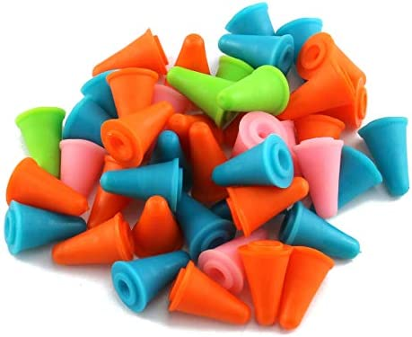 E outstanding Knitting Needles Cap 50PCS Mixed Color Cone Shaped Soft Rubber Knitting Needle product image
