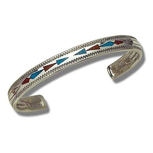 Indianerschmuck Armreif Chip Inlay Türkis Koralle Navajo Design Westernschmuck
