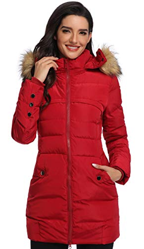 Epsion Women's Hooded Thickened Long Down Jacket Winter Down Parka Puffer Jacket (Winered, S)