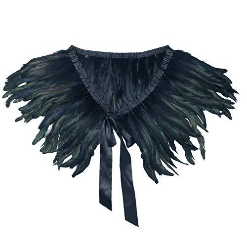 ANSUG Chal negro de la pluma de la manera, Natural del abrigo del hombro que cose la costura del collar del pavo real de los mantones para la etapa del partido del vestido de cóctel