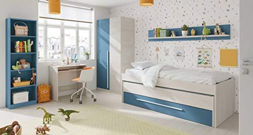 Miroytengo Pack habitacion Juvenil Azul y Blanco Alpes Completo Infantil (Cama Nido+Estante+Armario+Escritorio+estanteria) con SOMIERES