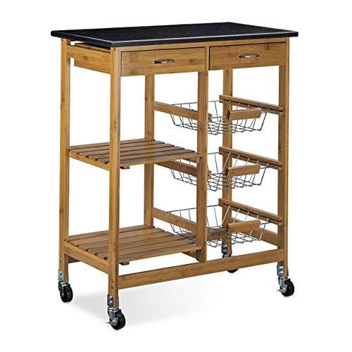 Relaxdays Küchenwagen Bambus ALFRED XL mit schwarzer Marmorplatte HBT: 82,5 x 67,5 x 37,5 cm Küchenrollwagen mit 2 Schubladen als Servierwagen mit 3 Edelstahl Körben Rollwagen und Küchentrolley, natur