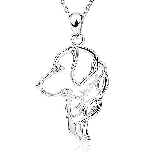 XQAQW Collar de Plata esterlina 925 de Las Mujeres y Colgante Lindo Perro Animal joyería de Mascotas Regalo para Las Mujeres -45Cm