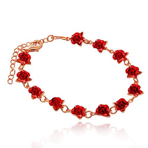 Uloveido Lovely Rose Gold Plated Rose Bracelet Link Bracelet Brazalete de flores de acero inoxidable para madres Niñas Novia (Rose Gold-Red) Y452